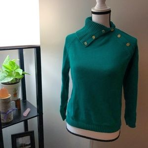 Charter Club Petite Green Long Sleeve Sweater - PS